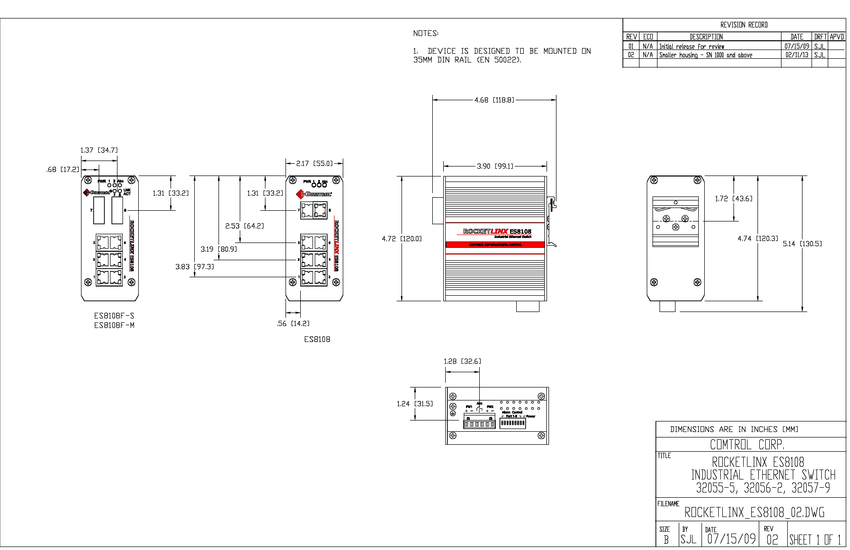 RocketLinx Engineering Drawing ES8108F-S