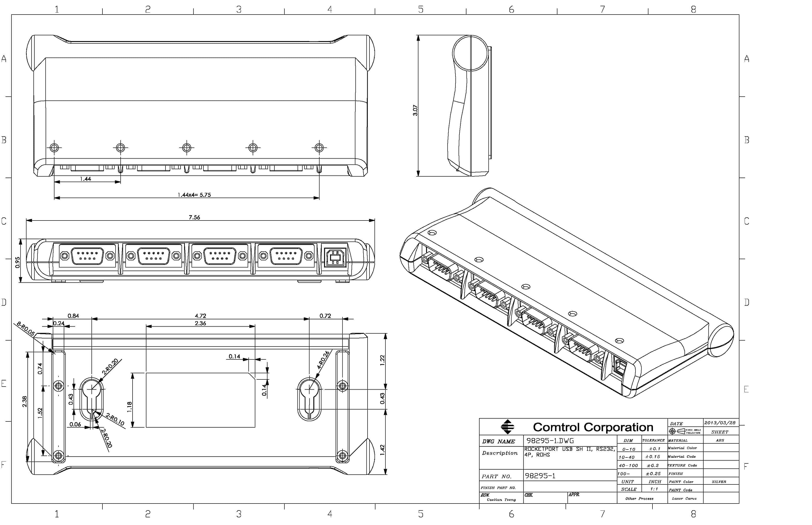 Rocketport Usb Serial Hub 4 Port Hubs Comtrol In Addition Cable Pinout On To Schematic View Engineering Drawing Includes Ii Device