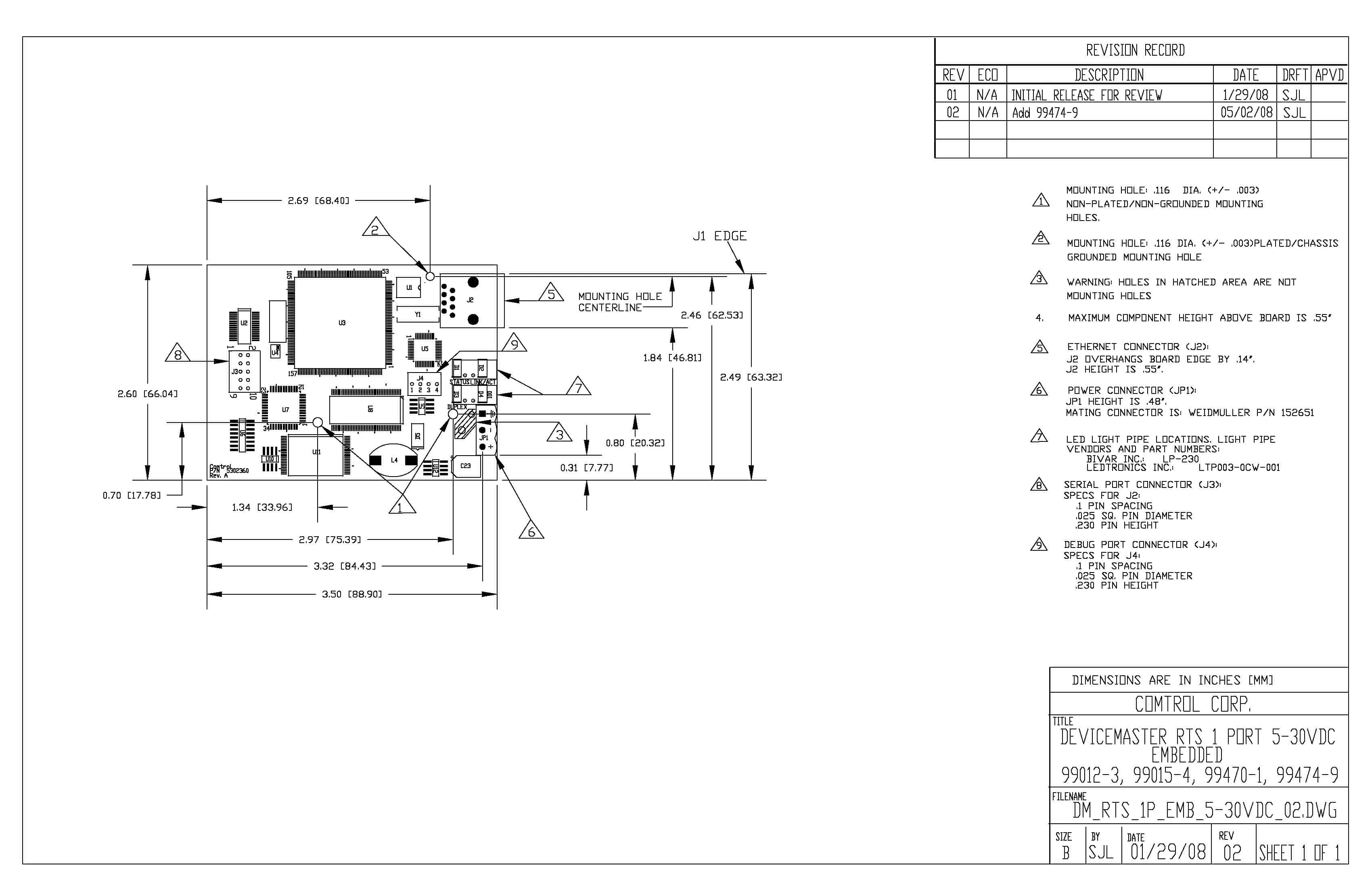 Devicemaster Rts Vdc 1 Port Embedded Db9 Comtrol Corp Power Over Ethernet Rocketlinx Serial Device Server View Engineering Drawing