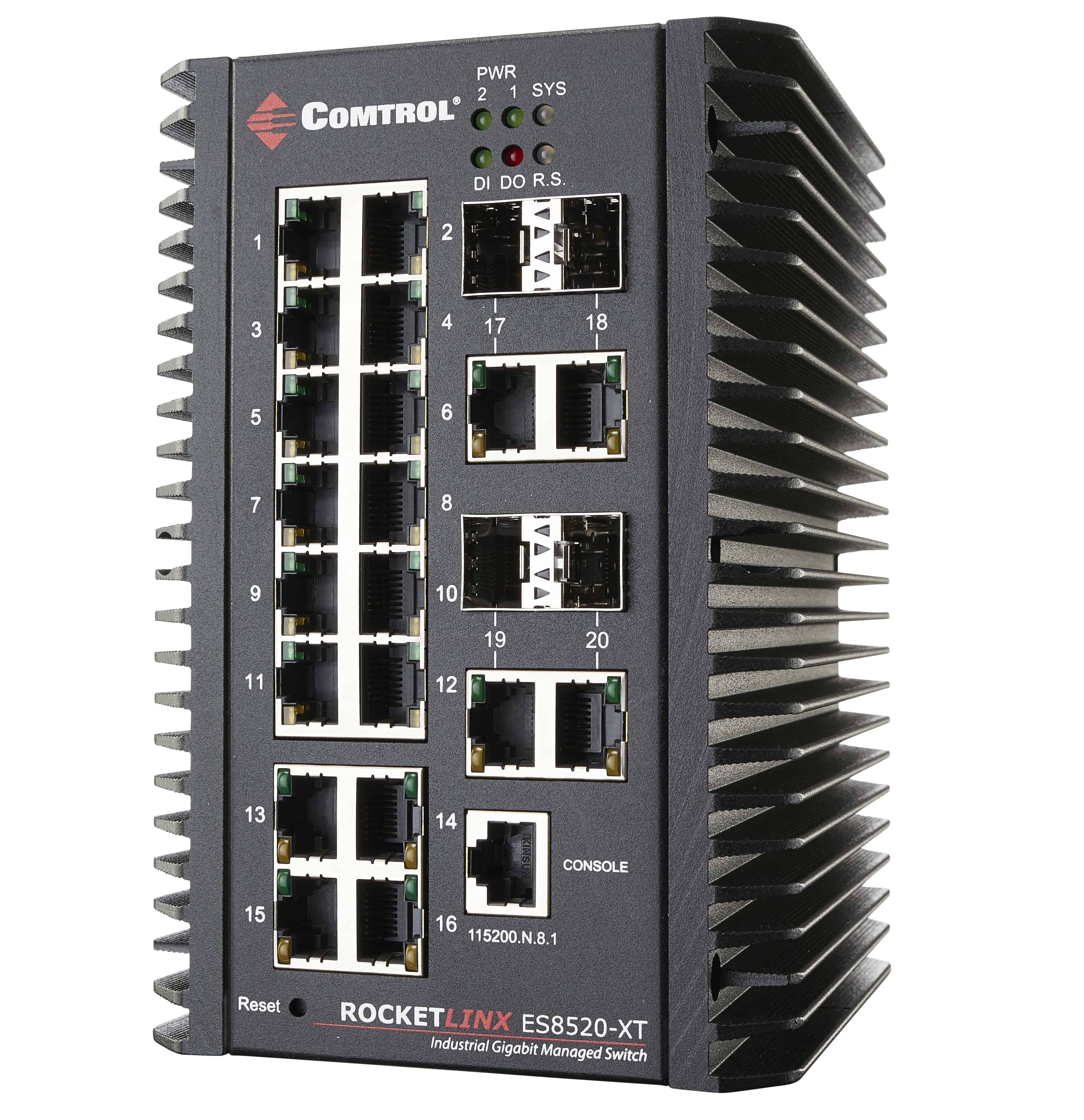 ES8520XT left 1 - RocketLinx ® Industrial Ethernet Switches